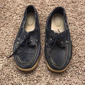 Navy leather sperrys